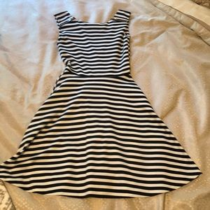 Back and white striped dress-4% Spandex